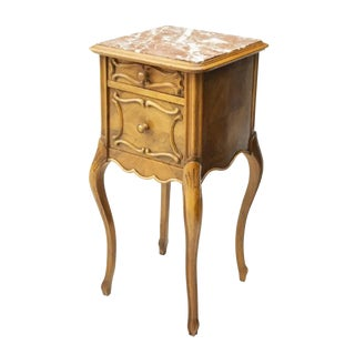 19th Century Century French Louis XV Carved Walnut Marble Top Cabinet For Sale