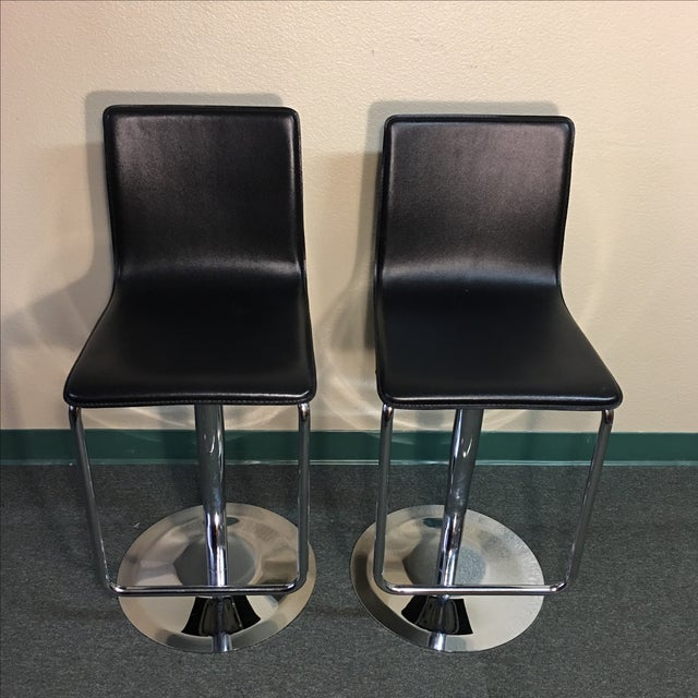 Leather & Polished Steel Adjustable Bar Stools - a Pair - Image 2 of 10