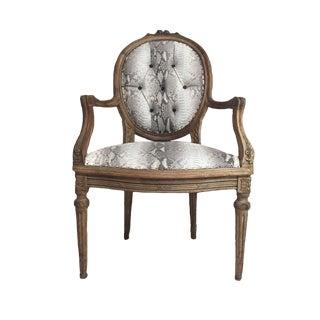 Hollywood Regency Daf House Genuine Python Leather and Swarovski Crystal Arm Chair For Sale
