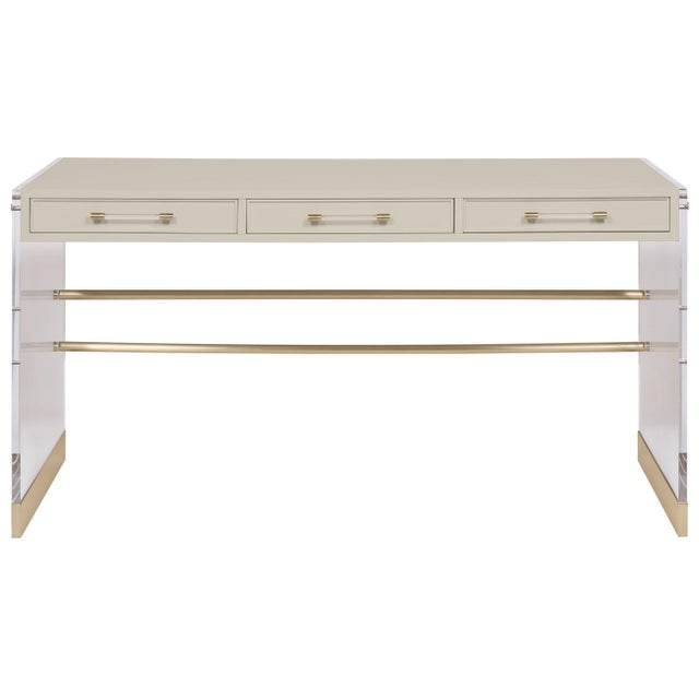 Transitional Casa Cosima Arden Desk with Taper Leg Base, Revere Pewter For Sale - Image 3 of 3
