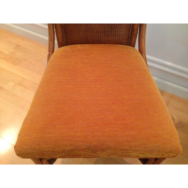 Tommy Bahama Wicker Rattan Upholstered Side Chairs - A Pair - Image 7 of 8