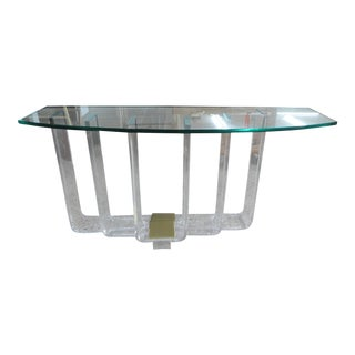 1970s Vintage Architectural Lucite and Brass Graduated Console Table For Sale