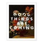 Good Things Are Coming by Lara Fowler in White Framed Paper, Medium Art Print