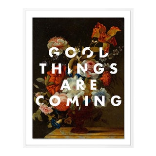Good Things Are Coming by Lara Fowler in White Framed Paper, Medium Art Print For Sale