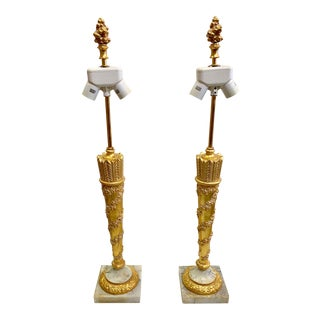 1950s Vintage French Empire Gold Dore Marble Table Lamps- a Pair For Sale