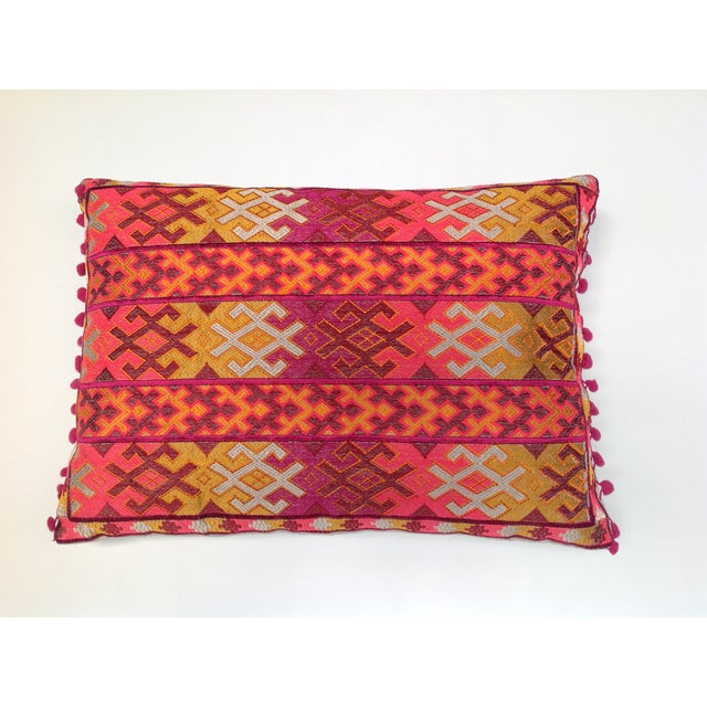 Pulitzer Linen Ombré Silk Embroidered Aztec Pillow - Image 2 of 3
