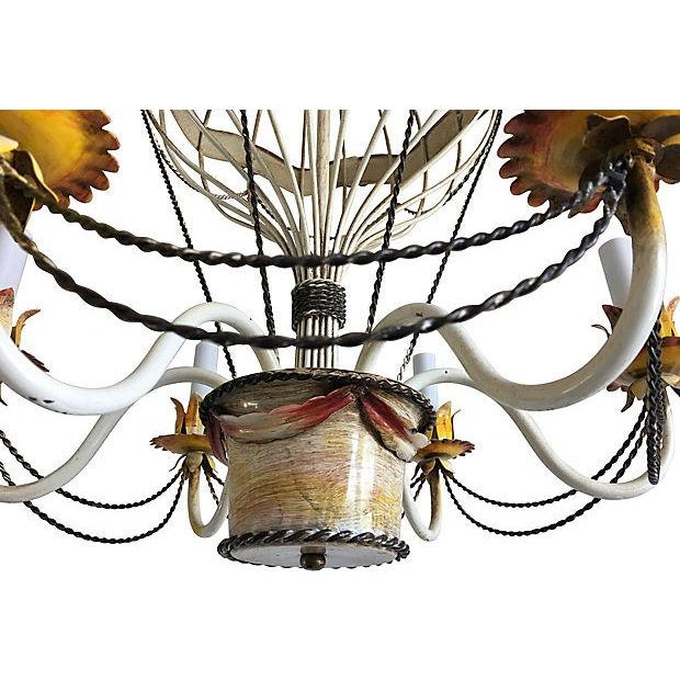 Up, up, and away in this 1950s Italian hot air balloon chandelier with six arms in its ORIGINAL hand-painted finish with...