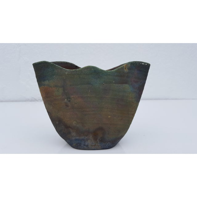 "Mid-Century Modern 70's ""Ruth Lalaine "" Raku Pottery Vases - Set Of 3 For Sale - Image 3 of 10"