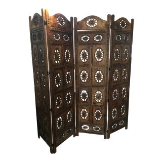 Vintage Moroccan Style Teak Four Panel Folding Screen For Sale