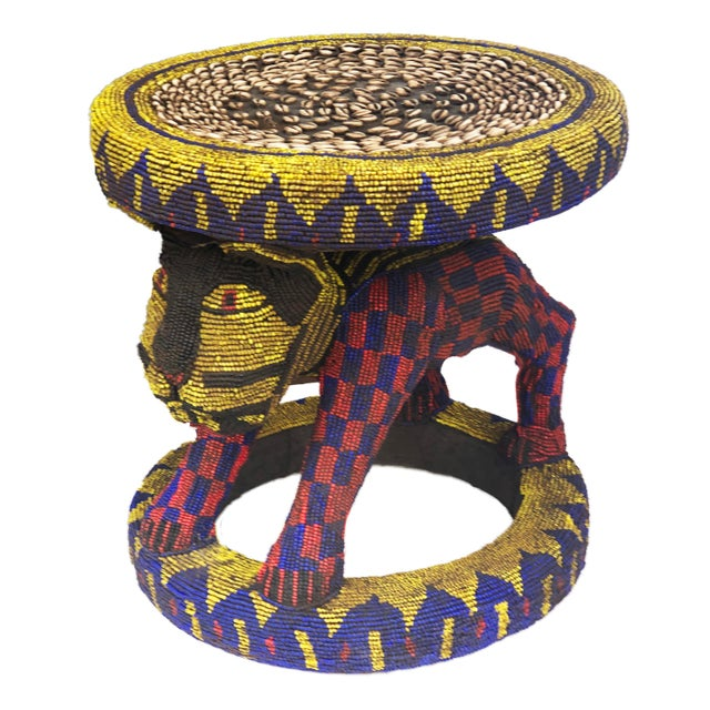 """Old Lg African Beaded Wood Bamileke Stool /Table Cameroon 18.5'""""h For Sale - Image 10 of 10"""