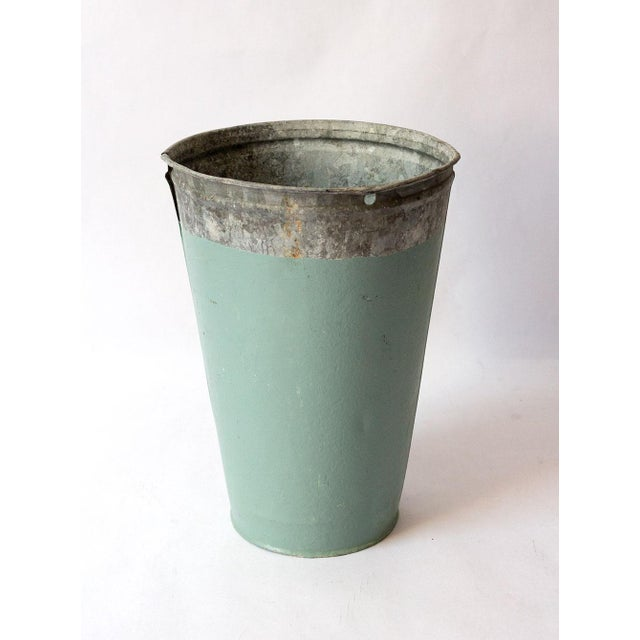 Boho Chic Vintage Turquoise Galvanized Metal Vessel For Sale - Image 3 of 8