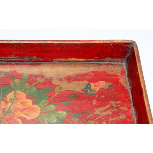Chinese Antique Red Hand Painted Wood Tray For Sale - Image 11 of 13