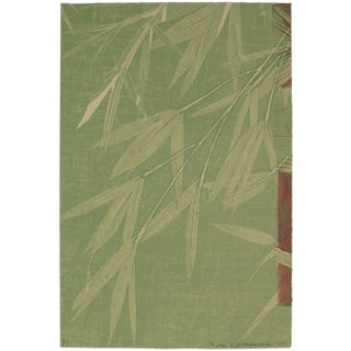 Rob Delamater Contemporary Minimalist Bamboo Monotype in Green, Asian Aesthetic, 2009 2009 For Sale