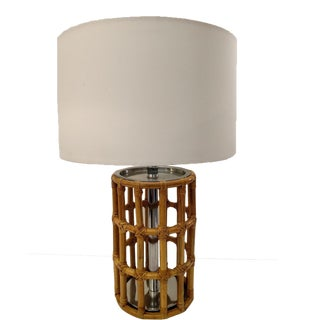 Rattan Cylinder Cage Lamp, Mid-Century For Sale