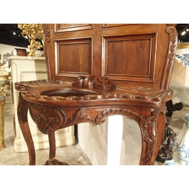 Late 19th Century Antique French Walnut Wood Hall Rack and Umbrella Stand, Circa 1880 For Sale - Image 5 of 11