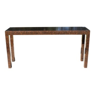 Vintage Faux Tortoise Shell Parsons Console Table For Sale