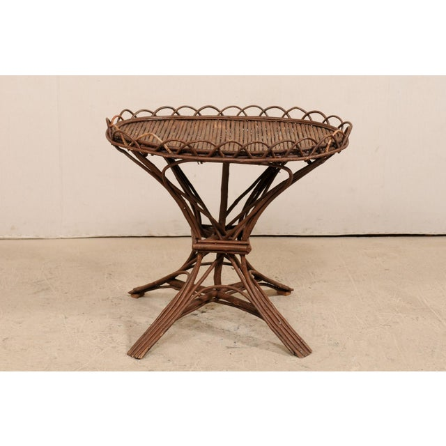 Wood 20th Century Swedish Wood Twig and Reed Oval Side Table For Sale - Image 7 of 12