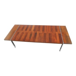 Rare Lane Mid-Century Modern Chrome Walnut & Rosewood Tripartite Coffee Table