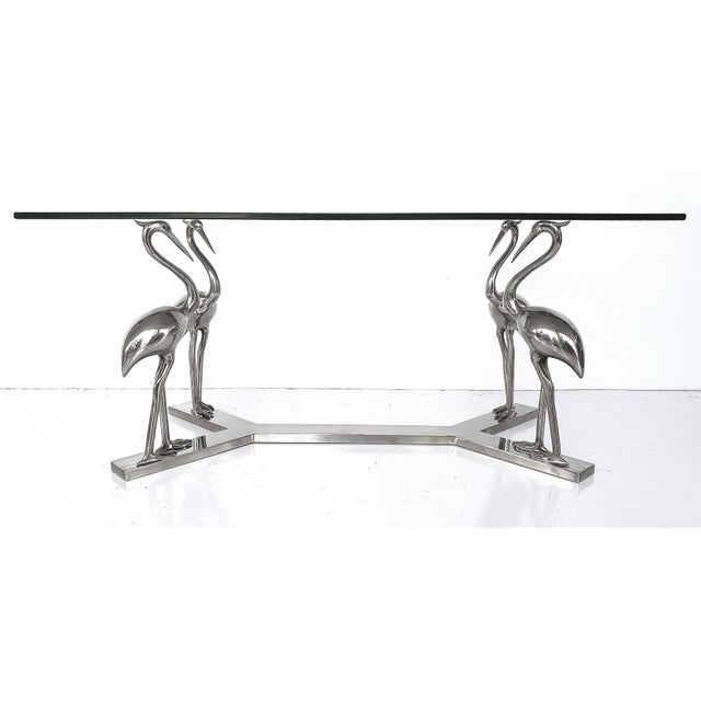 Offered for sale is a Vintage Chrome Bird Coffee Table w/ Glasstop. The table is made in France and is quite substantial....