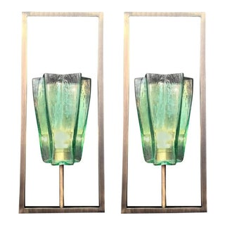 Pair of Italian Murano Architectural Emerald Green Glass Sconces For Sale