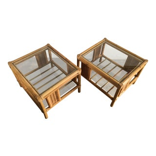 Vintage Mid Century Modern Rattan Side Tables - A Pair