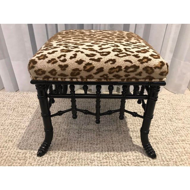 Transitional Faux Bamboo Foot Stools with Leopard Upholstery - a Pair For Sale - Image 3 of 13