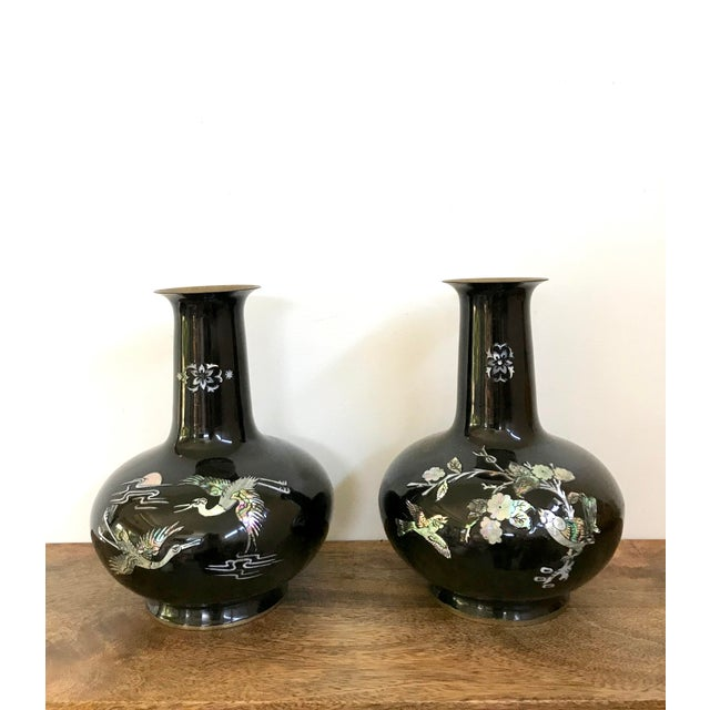 1940s Chinoiserie Brass Enameled Metal Vases A Pair Chairish