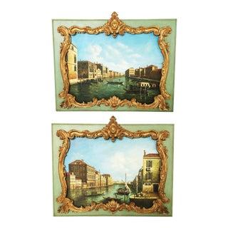 Stunning Pair of Overdoor Paintings For Sale