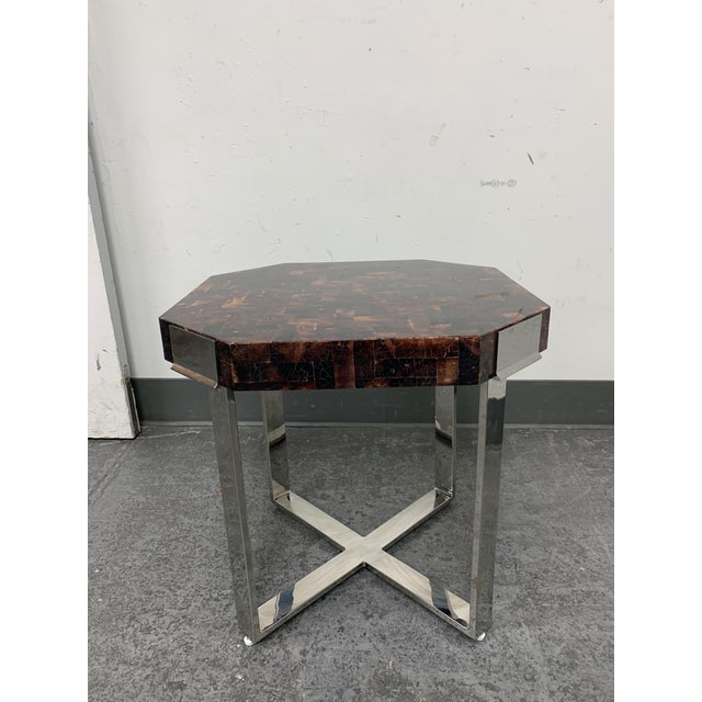 Red Palacek Shell + Chrome Side Table For Sale - Image 8 of 8
