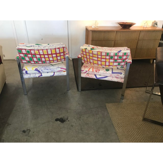 Mid-Century Modern 1960s Mid-Century Modern Milo Baughman for Thayer-Coggin Pink and White Pattern Upholstered Club Chairs - a Pair For Sale - Image 3 of 11