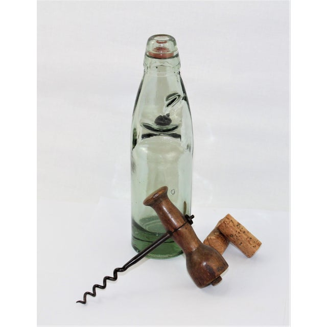 Green Antique English Codd Bottle With Codd Bottle Opener, Corkscrew - a Pair For Sale - Image 8 of 9