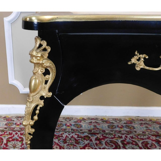 1900 - 1909 Partially Restored Antique French Louis XV Regency Style Black Lacquered Bureau Plat Desk C1900 For Sale - Image 5 of 12