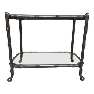 Mid-Century Modern Faux Bamboo Solid Bronze Side Table For Sale