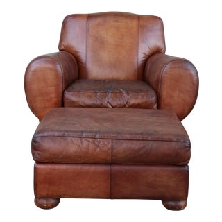 1960s Vintage Leather Club Chair & Ottoman For Sale