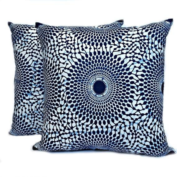 Blue Iris African Wax Print Pillow Covers - A Pair - Image 1 of 4