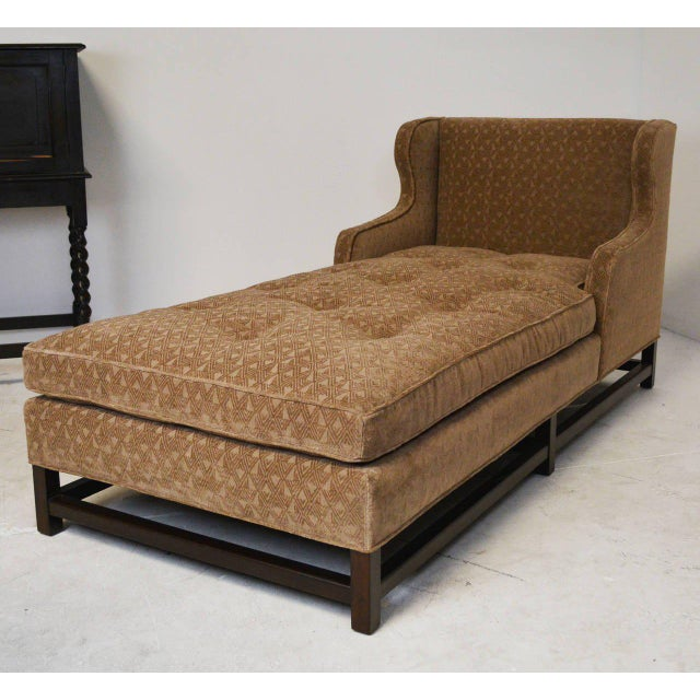 Early 20th Century Mid-Century Modern Wingback Chaise with Walnut Legs and Stretchers For Sale - Image 5 of 5