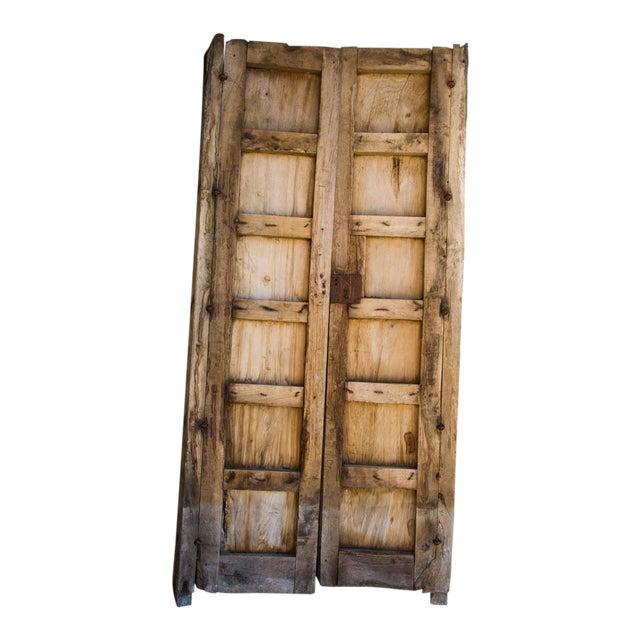 Antique Guadalajaran Exterior Swinging Mesquite Rustic Doors - A Pair For Sale