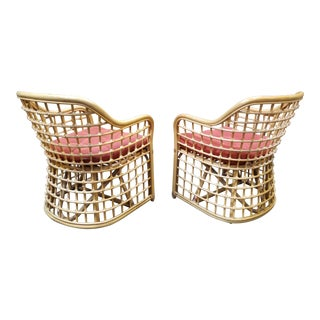 Wicker and Bamboo Lounge Chairs a Pair For Sale