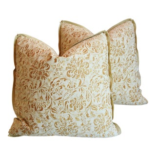 "Italian Mariano Fortuny Cimarosa Feather/Down Pillows 20"" Square - Pair For Sale"