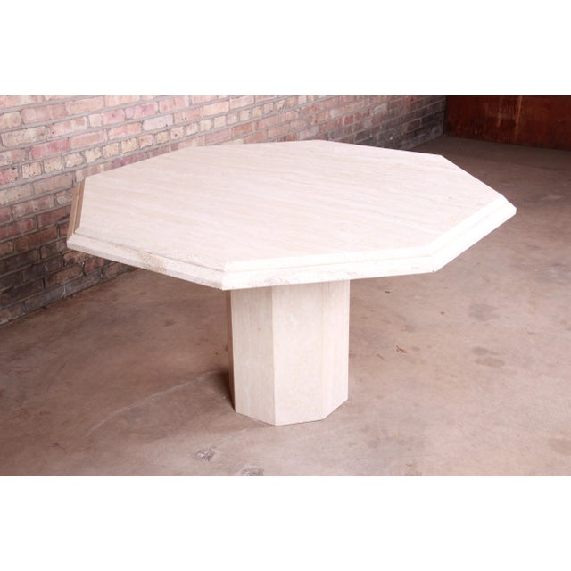 1970s Modern Italian Travertine Octagonal Pedestal Dining or Center Table For Sale - Image 5 of 10