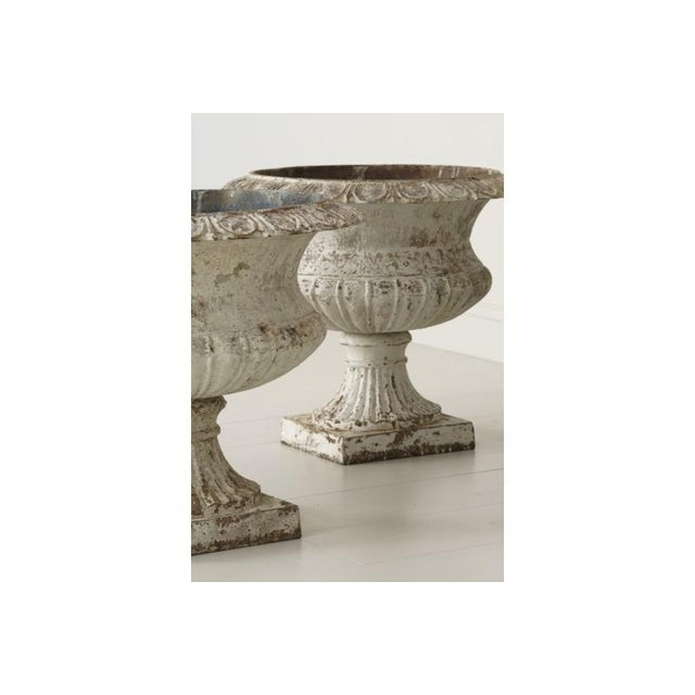 Cast Iron Large Pair of 19th Century French Cast Iron Urns For Sale - Image 7 of 10