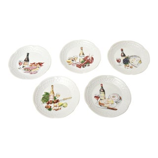 Philippe Deshoullieres Porcelain Appetizer or Desert Plates - Set of 5 For Sale