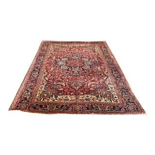 A Must See Antique Colorful Decorative Persian Heriz Rug For Sale