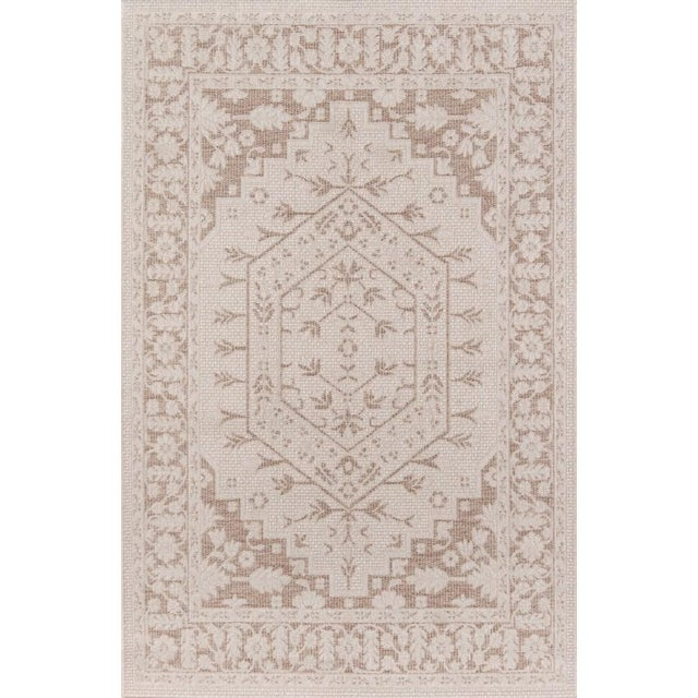 "Erin Gates Downeast Brunswick Beige Machine Made Polypropylene Area Rug 6'7"" X 9'6"" For Sale"