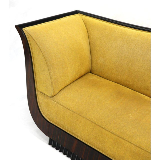 Large French Art Deco Rosewood Sofa in Gold Upholstery Scalloped Edge For Sale - Image 11 of 13