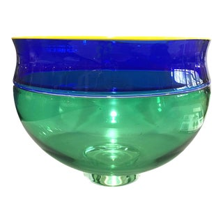 1999 American Alex Brand Blue Green Glass Incalmo Bowl For Sale