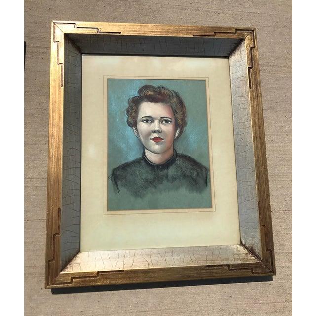 Vintage Female Portrait Chalk Drawing - Image 2 of 7