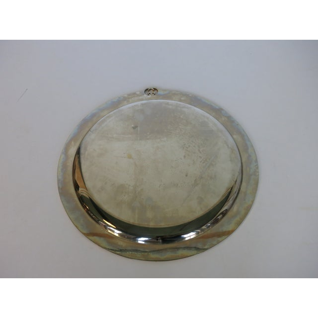 Contemporary Vintage Gucci Round Silver Plate Tray For Sale - Image 3 of 6