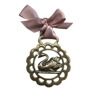 Antique English Horse Brass Ornament Swan For Sale