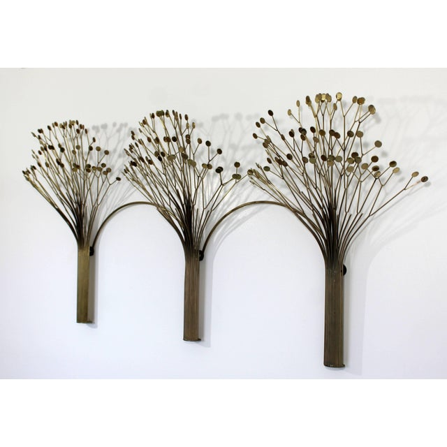 Curtis Jere 1970s Mid-Century Modern Brass Three Tree Wall Sculpture by Curtis Jere For Sale - Image 4 of 7